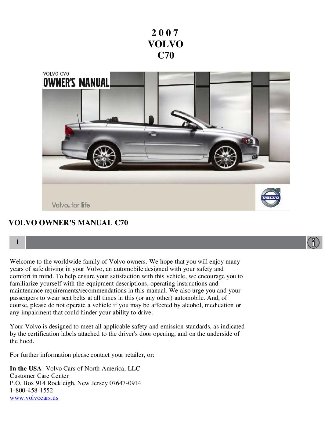 2010 volvo c70 owners manual